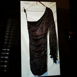 Dab 1 shoulder black Shimmer prom dress ruched M